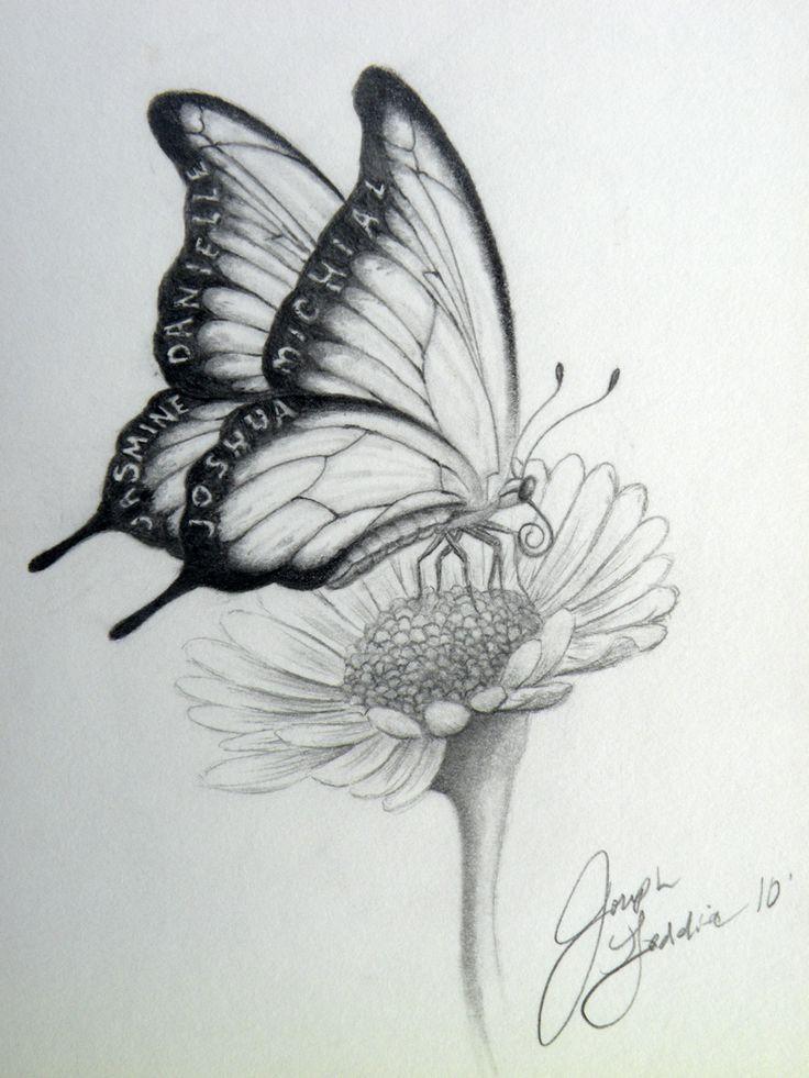 Картинки бабочка на цветке в карандаше, сделать