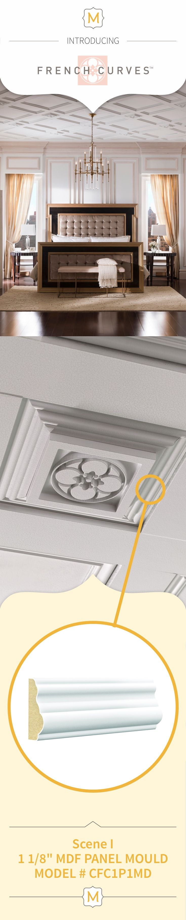 Add an extra element of interest to your ceilings and Metrie Ikons with with Metrie's French Curves Collection trim.