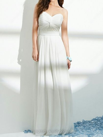 Sheath/Column Sweetheart Chiffon Floor-length Criss Cross Wedding Dresses -USD$152.96