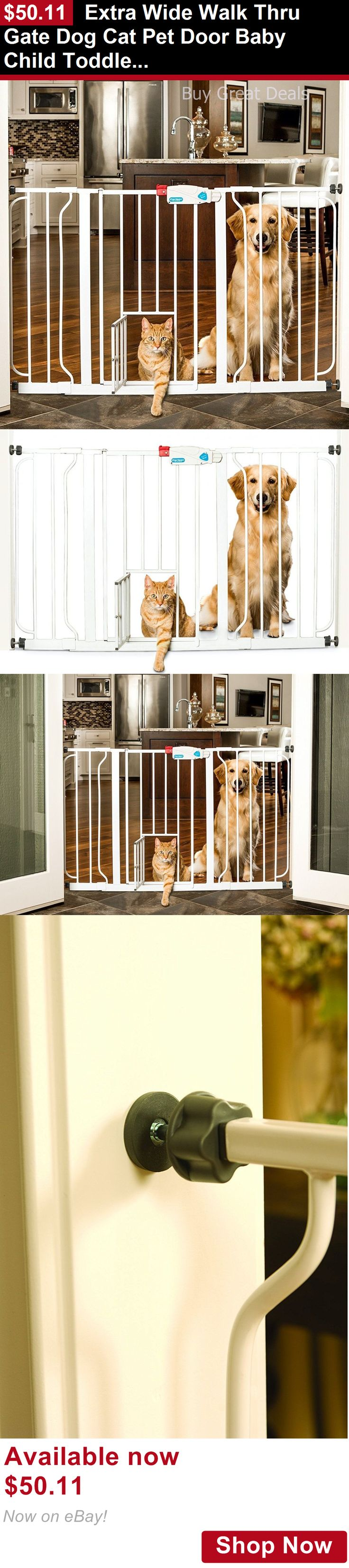 Baby Safety Gates: Extra Wide Walk Thru Gate Dog Cat Pet Door Baby Child Toddler Safety Steel White BUY IT NOW ONLY: $50.11