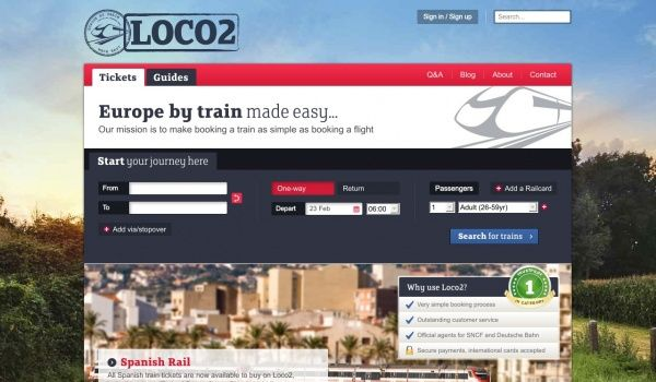 LOCO2 train ticket booking system for Europe. Many European train companies are included, including France's SNCF, Germany's ICE, the Eurostar, and rail services for Italy and Spain. Also offered is a translation of a typical German train ticket. Very easy and intuitive to use.