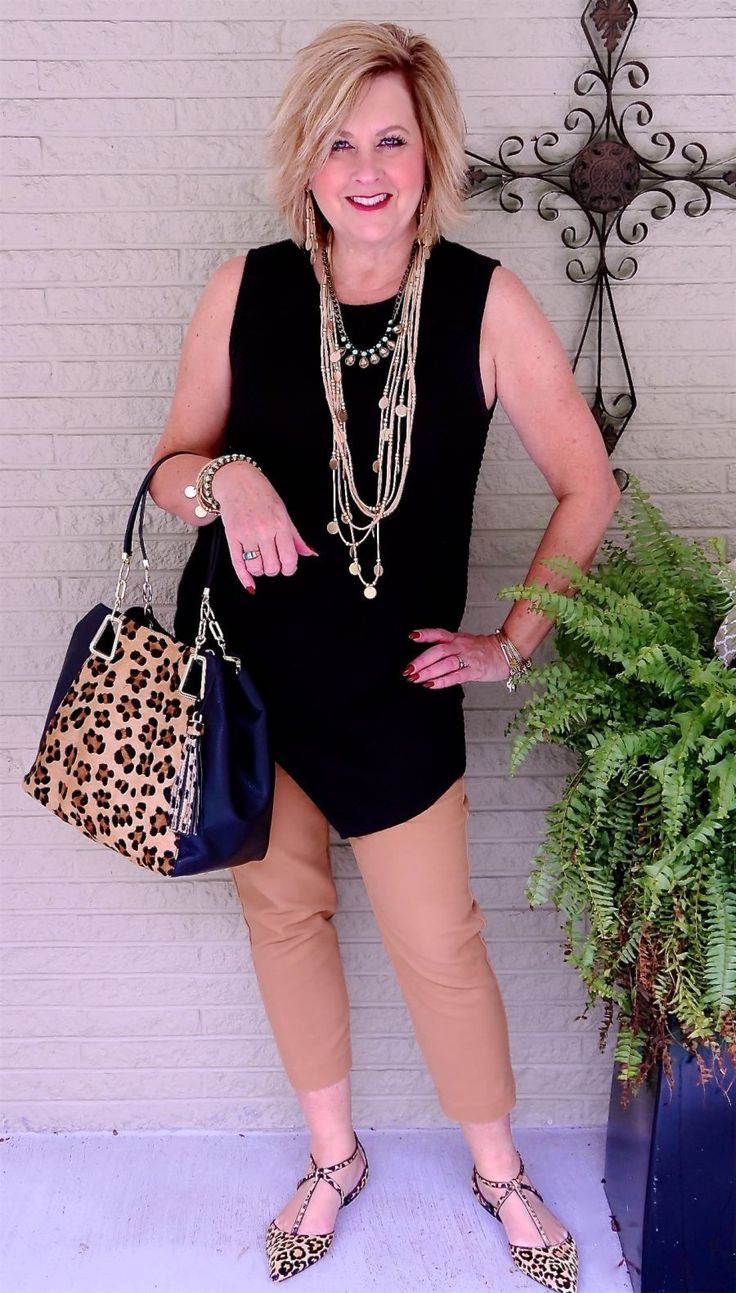 50 IS NOT OLD | HOW TO STYLE BLACK AND BROWN TOGETHER | Asymmetrical | Leopard print | Fashion over 40 for the everyday woman