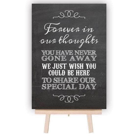 In Loving Memory Wedding Table Decoration Sign Chalkboard Style