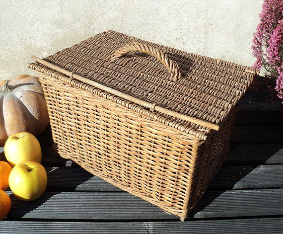 Vintage French Wicker Picnic Basket Storage by LaBelleEpoqueDeco
