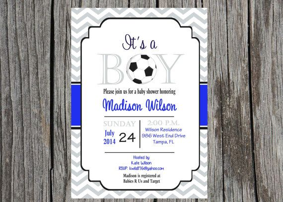 Printed soccer Baby Shower Invitation sports by PrintYourEvent