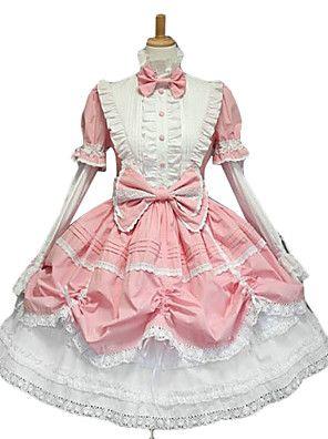 lange+mouw+bladerdeeg+mouw+knielange+roze+witte+zoete+lolita+jurk+met+leuke+strik+–+EUR+€+97.99