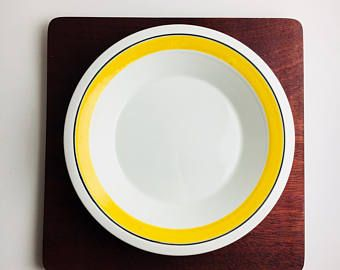 "Vintage Arabia Finland hand painted bright yellow ceramic deep plate named ""Faenza"", designed by Peter Winquist, 1970"