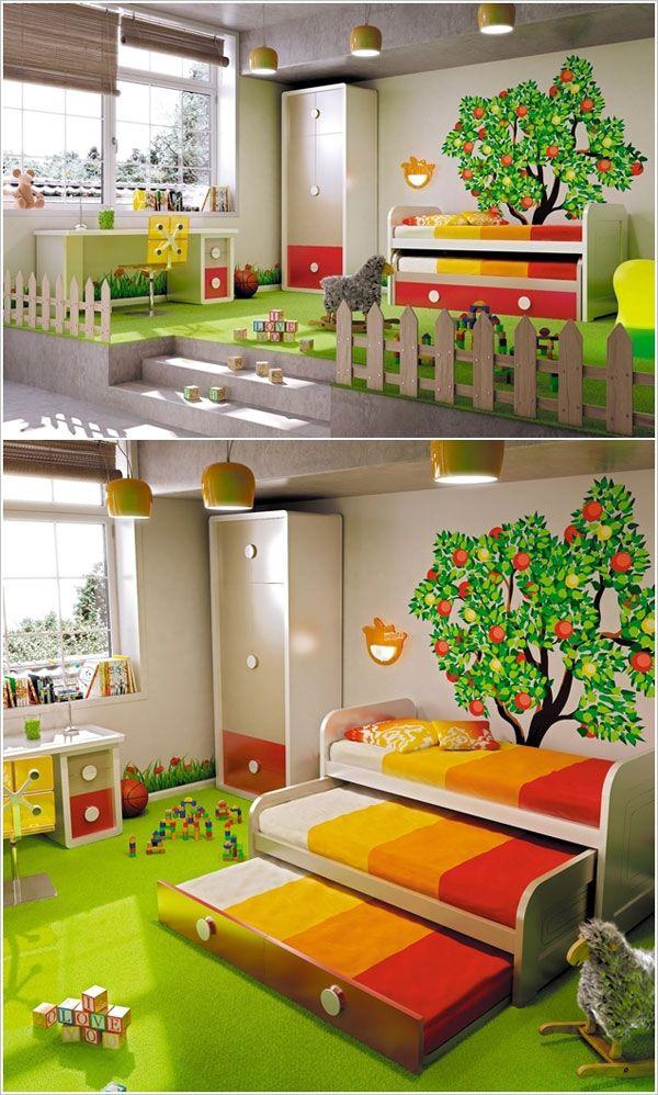 Cameretta per bambini con steccato, giardino e alberi