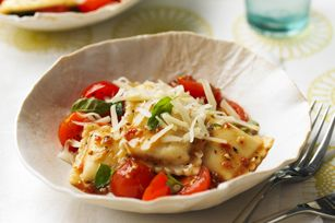 "Fresh Tomato Ravioli recipe - nice and quick weeknight dinner idea! ""Excellent recipe - the whole family loved it. It's very quick to make and very tasty. """