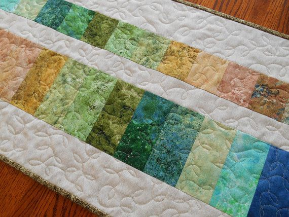 Modern Table Runner in Stonehenge Prints Quilted by susiquilts