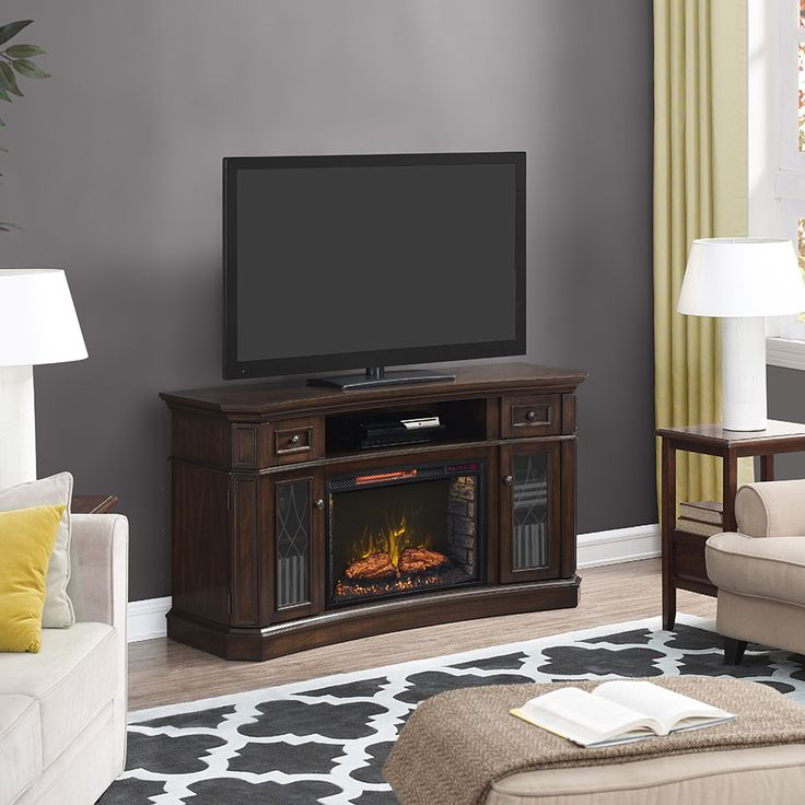 A handsome electric fireplace is perfect for cozying up on
