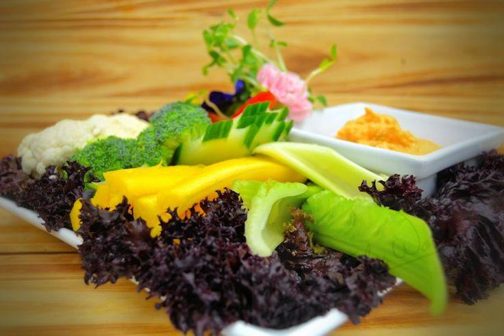 Vegetable Crudites with spicy humus dip