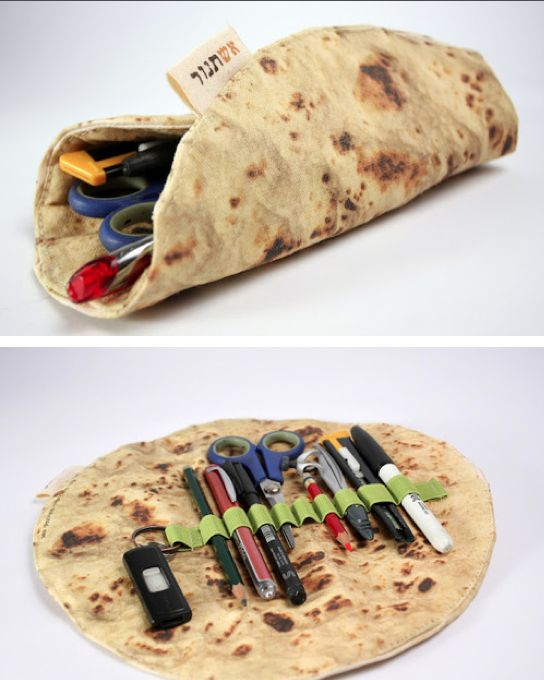A pencil case shaped like RUSTIC INDIAN BREAD. I can't even begin to tell you how much my life is missing this right now!
