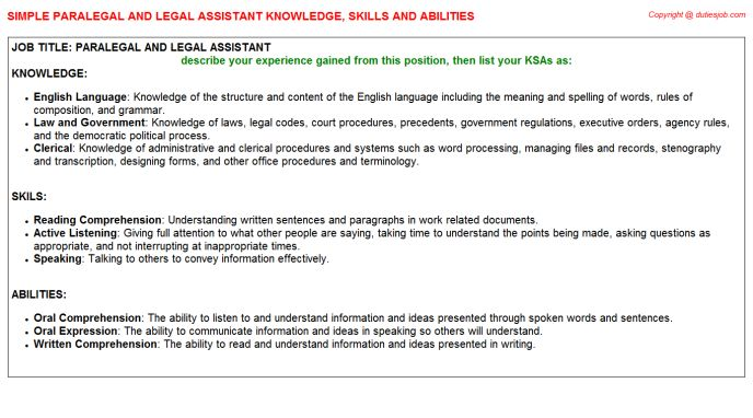 Paralegal And Legal Assistant Knowledge, Skills and Abilities