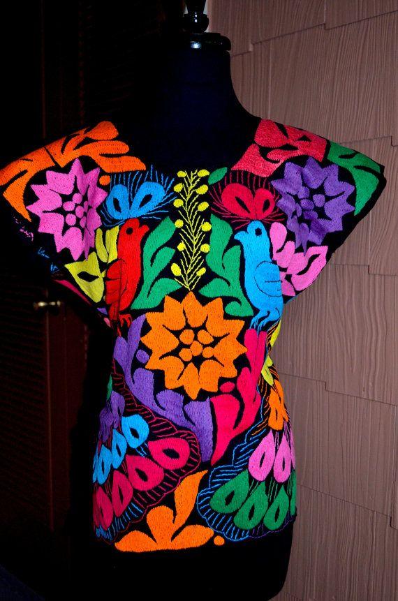 Vibrant Multicolor Embroidered Blouse / Huipil / by Vtgantiques, $87.99