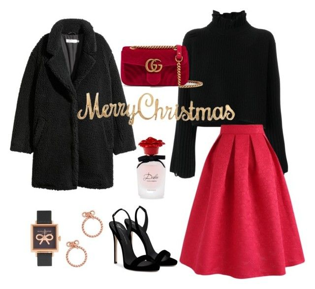 Chic & Glamorous - Christmas Style by matinapapadopoulou on Polyvore featuring polyvore, fashion, style, Golden Goose, Chicwish, Giuseppe Zanotti, Gucci, Olivia Burton, Dolce&Gabbana and clothing