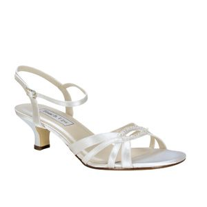 """http://www.nzbridalhire.co.nz Dakota 266 Material: Satin  Colour: White  Dyable: Yes  Height: 1 3/4""""  Sizes: 5-11 $169.00"""