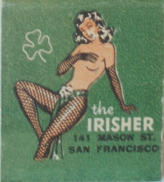 Matchbook art from The Irisher in San Francisco, 1950s
