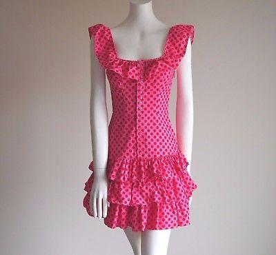 RARE-Betsey-Johnson-Vintage-Pink-W-Red-Polka-Dot-Ruffle-Tiered-Twirl-Dress-Sz-2