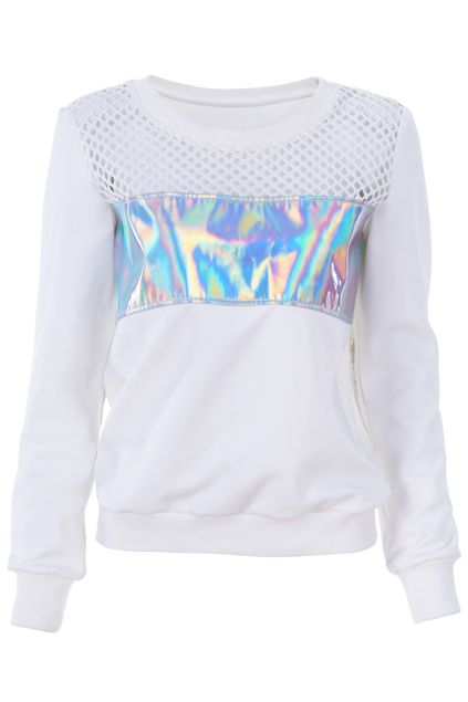 ROMWE   Holographic Print Hollow Sweatshirt, The Latest Street Fashion  #unicorn