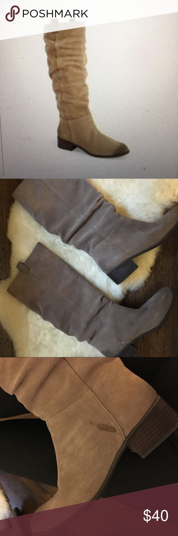 BP beige suede slouch boots Popular suede slouch boot from BP. One small flaw - see 3rd picture. Besides that - these are in PERFECT condition. I am 5'5 for reference. Any questions just ask!   I also have these in grey for sale in my closet! Nordstrom Shoes Combat & Moto Boots