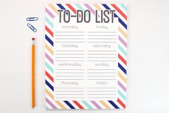 Bloc-notes grand pour faire la liste Note Pad corvée hebdomadaire liste jours de la semaine action graphique dortoir bureau accessoires Graduation cadeaux Stripes BCBG
