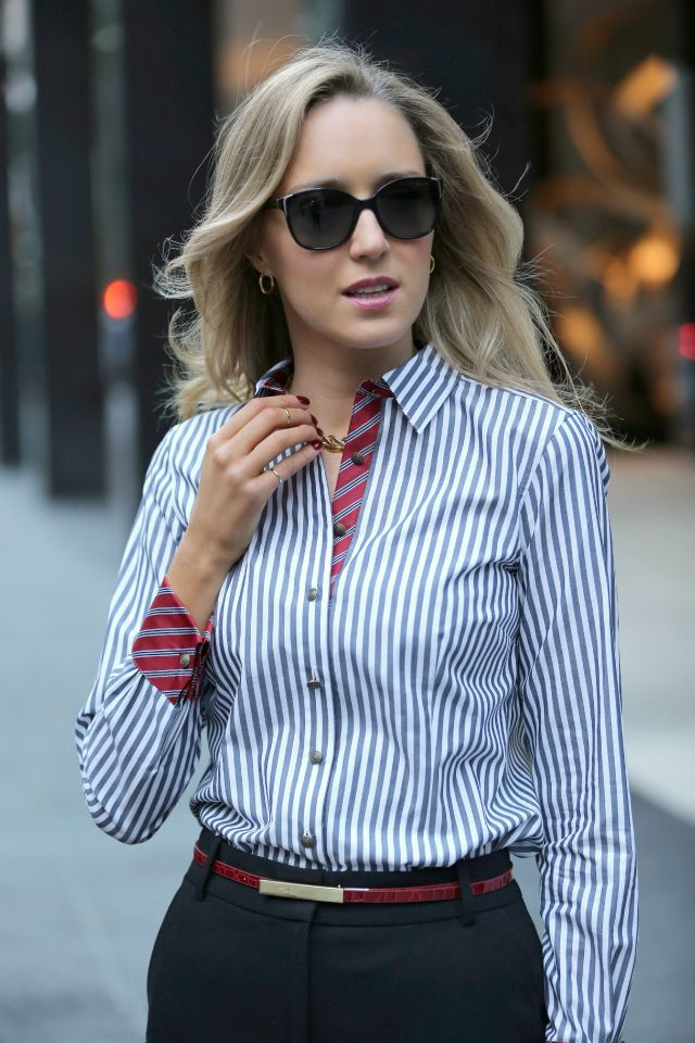 Perfectly accessorized button-down | The Classy Cubicle