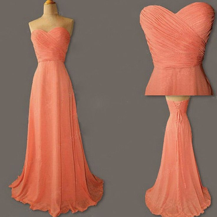 Junior Young Simple Sweet Heart Chiffon Formal Coral Lace Up Back Long – SposaDesses