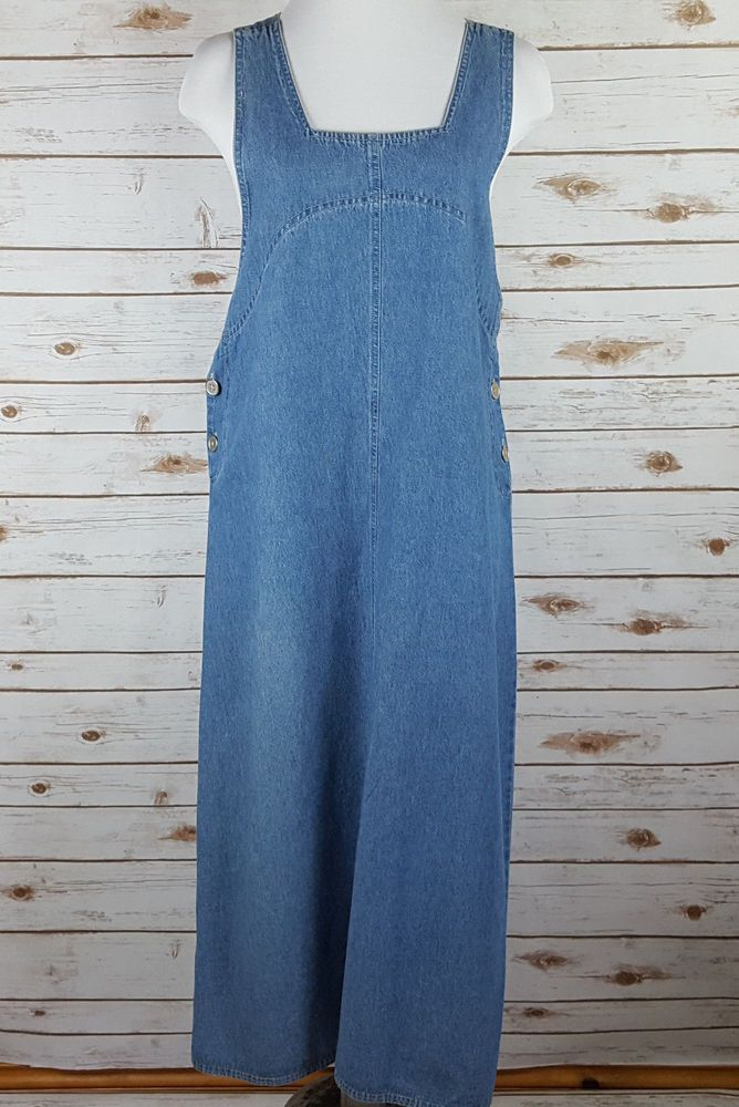 Vtg Denim Jumper Maxi Dress M Modest No Slit Silver Button Blue Sag Harbor Sport #SagHarbor #JumperMaxi #Casual