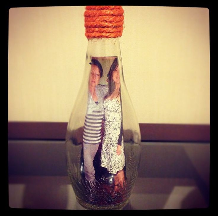 Porta retrato en botella