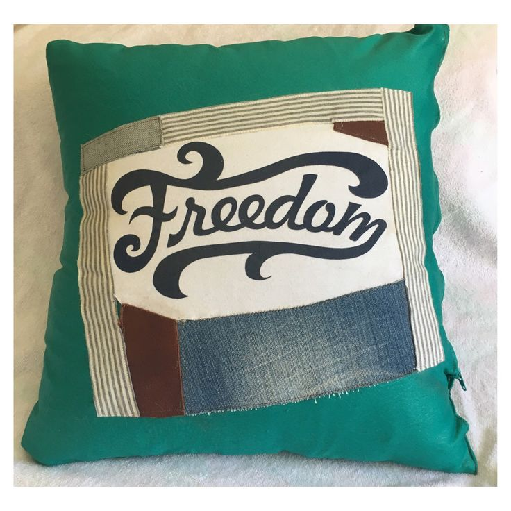 Quirky cool Freedom throw pillow.. Gorgeous green vintage material.. More options in store 💚