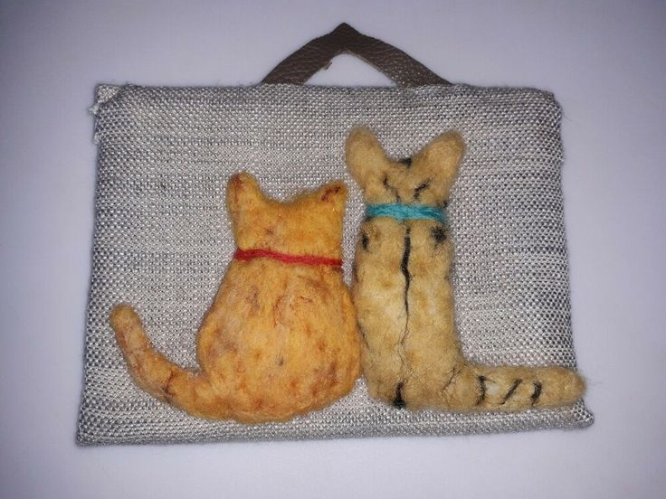 Two needle felted cats heads viewed from behind on plaque