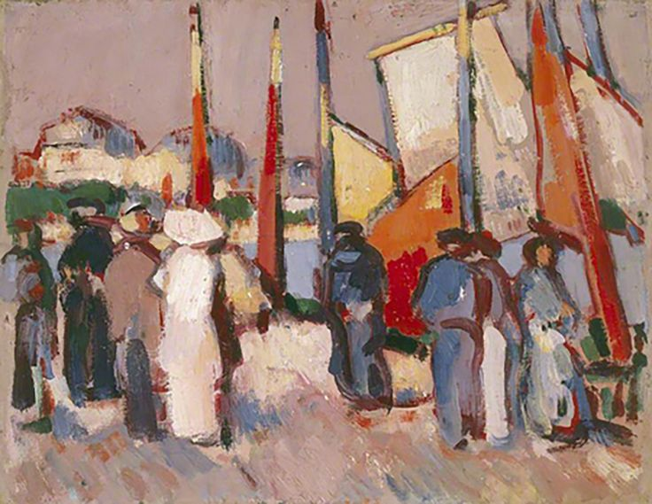 """From 1910–11 Emily Carr studied in France, learning new expressive styles like Fauvism. One of her teachers was John Duncan Fergusson with whom Carr exhibited at the Salon d'Automne in Paris. """"People and Sails at Royan,"""" 1910, Fergusson Gallery."""