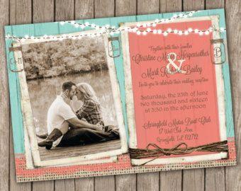 Jute bruiloft uitnodiging in koraal en door MissBlissInvitations