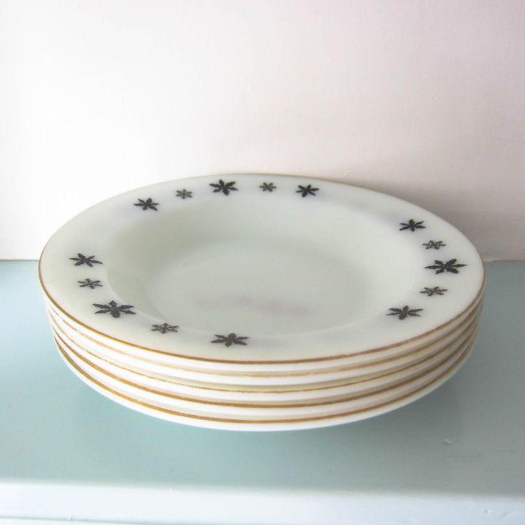 Pyrex, Snowflake, Pyrex bowl, milk glass bowl, black snowflake, Christmas plate, black and white, pyrex cereal bowl, English pyrex, retro by thevintagemagpie01 on Etsy