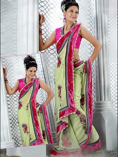 Alluring Parrot Green Saree @ INR 3,279 On SALE Now. (was INR 3,470 )