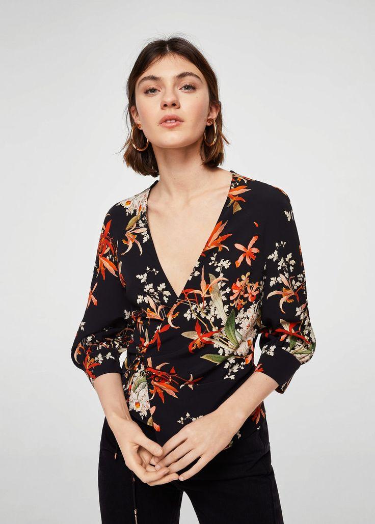 Wrap floral blouse - Women | MANGO USA