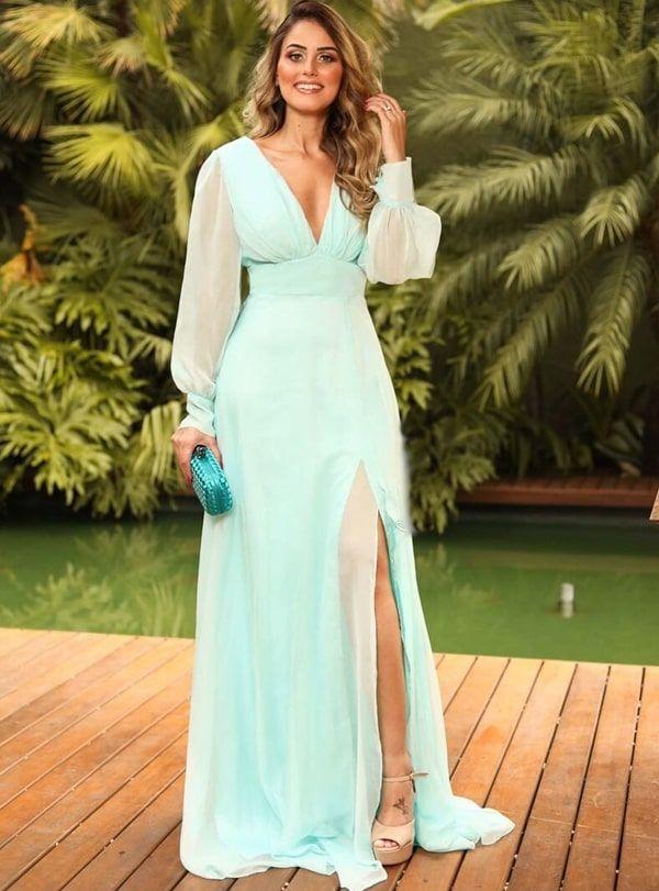 6feaeef82 vestido de festa verde água com manga longa, saia fluida e fenda ...