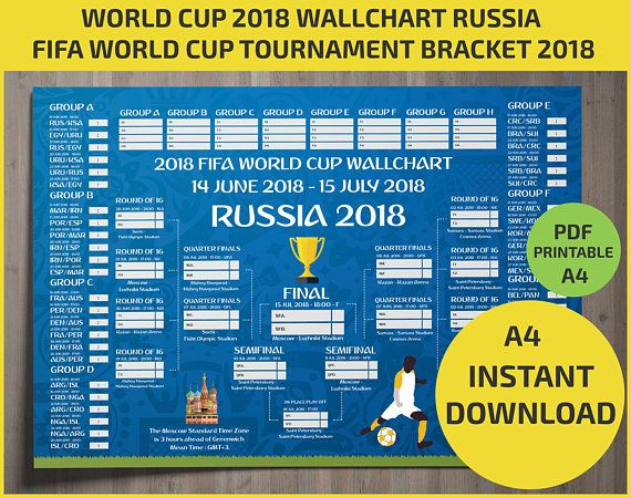 photograph regarding Printable World Cup Brackets identified as Wallchart FIFA 2018 Globe Cup Russia PDF / Printable
