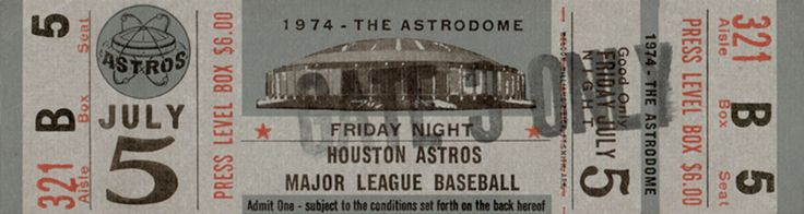 The  Regular Season  ticket for the Houston Astros game vs the Pittsburgh Pirates on Aug 05, 1974.