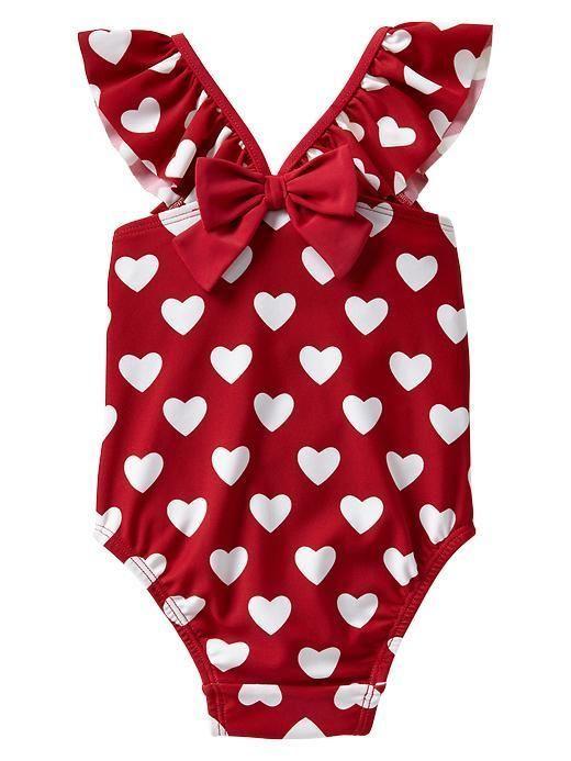 GAP Baby / Toddler Girl 18-24 Months NWT Heart Print Ruffle Bathing Suit - 2014