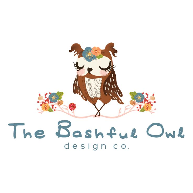 Floral Owl Premade Logo Design & Blog Header - Customized with Your Business Name!