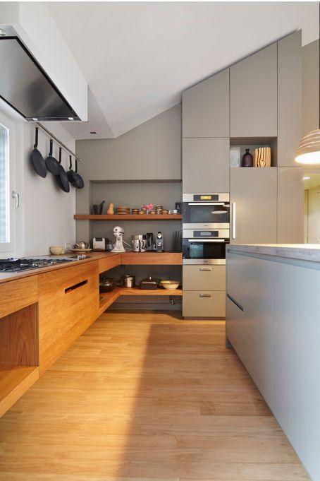 cozinha: referência madeira moderna e cinza