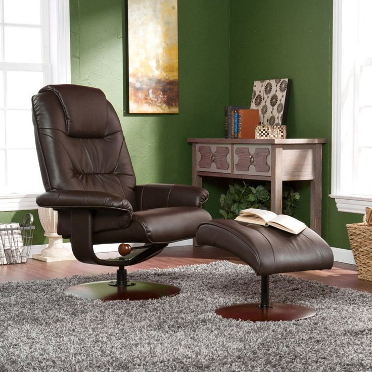 southern enterprises leather wingback recliner with ottoman brown up4973rc durable