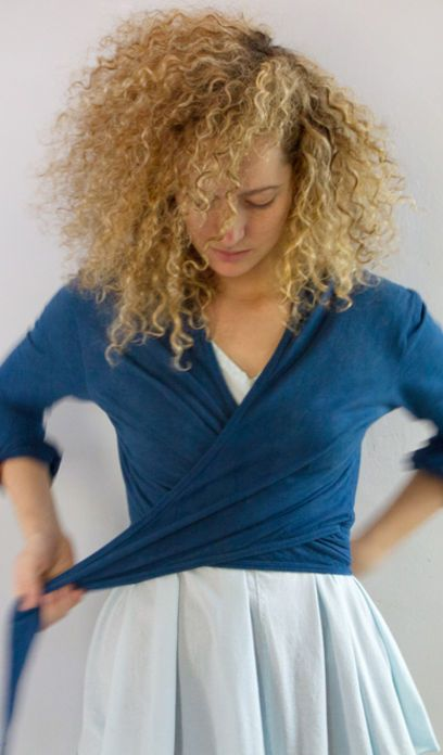 alabama chanin // a indigo wrap cardigan--idea for wrap dress where skirt is too clingy?