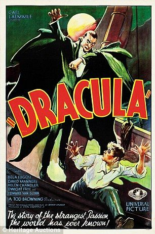 A poster for the 1931 Dracula movie starring Bela Lugosi... I love old horror films, and their posters work great as decorations for Halloween!