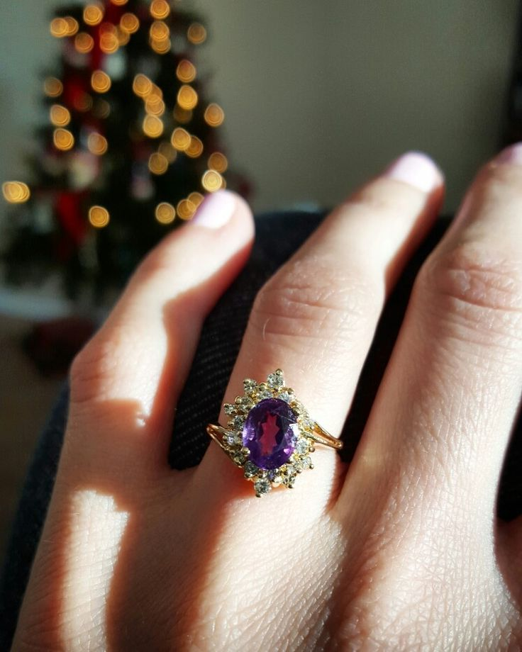 Amythest with diamond halo engagement ring