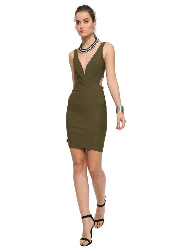 Kassie Bengaline Mini Dress in Olive | Necessary Clothing