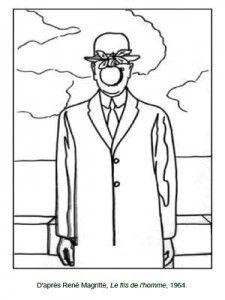 Coloriage René Magritte Le fils de l'Homme
