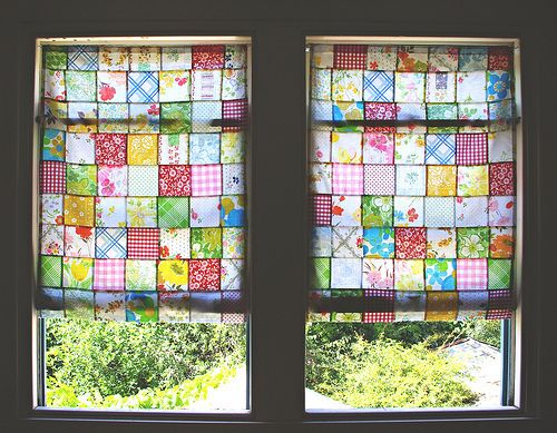 LOVE these patchwork curtains. Take a look at the photo from outside.
